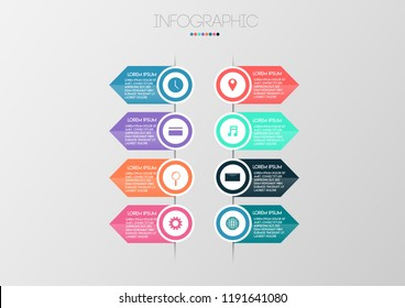 Vector illustration infographic timeline design template with label design and icons.