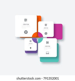 Vector illustration infographics 4 options. Data and information visualization. Dynamic infographics stylish geometric. element for design business invitations, gift cards, flyers and brochures