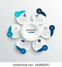 Vector illustration infographics 6 options. Template for brochure, business, web design.