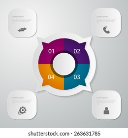 Vector illustration infographics circle with four quadrants . Rectangles with rounded corners