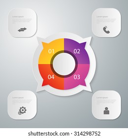 Vector illustration, infographics circle with four quadrants. Rectangles with rounded corners.