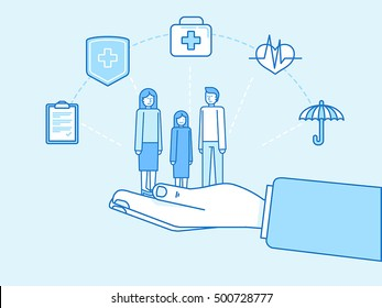 Vector illustration and infographics design elements in modern flat linear style - health insurance concept - hands protecting and supporting family