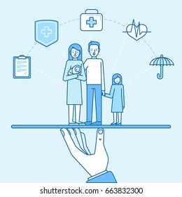 Vector illustration and infographics design elements in modern flat linear style - health and family  insurance concept - happy family with two kids