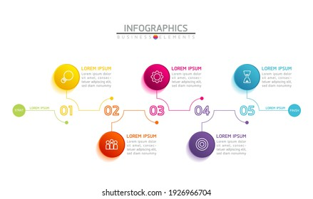 Vector illustration infographics design template, business information, presentation chart, with 5 options or steps.
