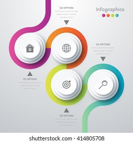 Vector illustration infographics four options. Template for brochure, business, web design