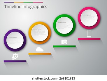 Vector illustration infographics paper circles with shadows