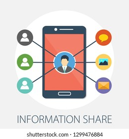 "Vector illustration of information sharing & people network concept with ""information share"" data and connection concept. media icon."