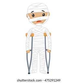 Vector Illustration of Injured Patient with Bandages