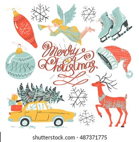 """Vector illustration with the inky textures in vintage style. The set with angel, star, car, tree, presents, snowflakes, figure skates, deer, Santa's hat, decorations and lettering """"Merry Christmas"""""""