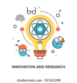 Vector illustration of innovation and research flat line design concept
