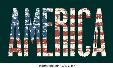 Vector illustration Inscription America and American flag
