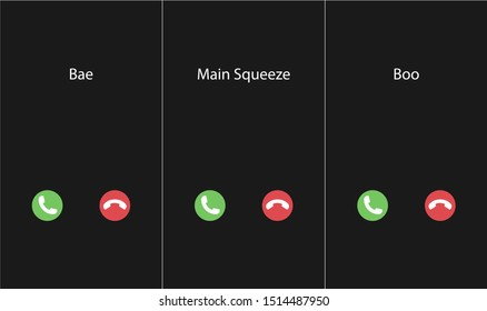 Vector illustration with the inscription: Boo, bae, main squeeze caller. Phone interface with two icons accept or reject a call