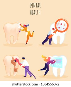 Vector Illustration Inscription Dental Health. Woman Cleans Big Tooth. Close-up Tooth, Man Examines Micro Glass with Podavilivitelnym Glass. Male Dentist Seals Broken Tooth Cartoon.