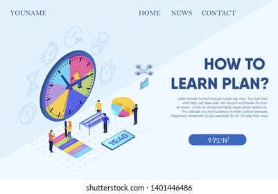 Vector Illustration Inscription How to Learn Plan? Little People are Planning Time. Man Sits on Big Dial. Time Planning Saves Time Implementing Tasks.  Scheduled Affairs Short Amount Time.