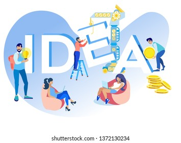 Vector Illustration Inscription Idea Cartoon Flat. Men and Women make their Own Contribution to Development and Implementation Idea. Business with Long History, Combination Good Profits and Longevity.