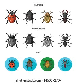 Vector illustration of insect and beetle sign. Set of insect and halloween vector icon for stock.