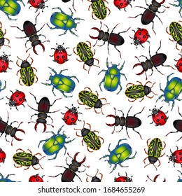 Vector illustration with insect beetles. Seamless pattern isolated on white background. Texture for print, banner, textile, wrapping paper. Ladybug, beetle deer, green beetle, calligrapha serpentina
