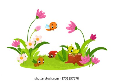 Vector illustration with insects. Nature, flowers and insects. Vector illustrations for children books.