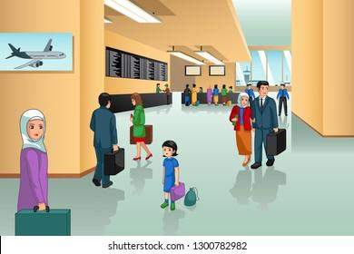 A vector illustration of Inside Airport Scene