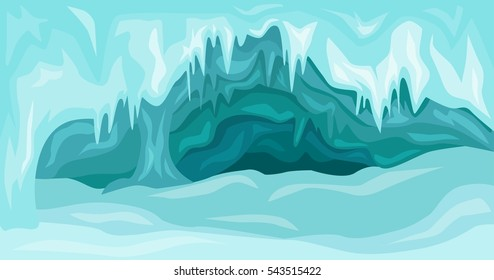 Vector Illustration of  Inside an blue ice cave covered with snow and flooded with light. Christmas  background