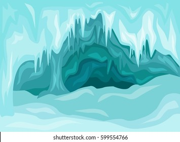 Vector Illustration of  Inside an blue ice cave covered with snow and flooded with light.