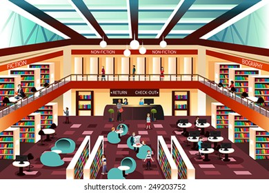A vector illustration of inside the modern library
