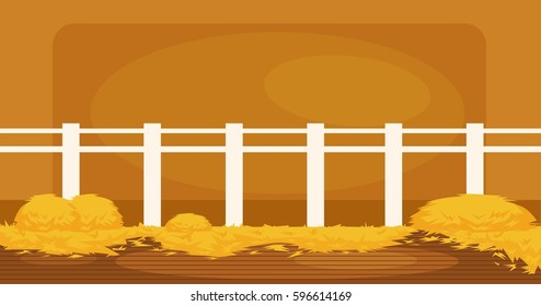 Vector illustration of  Inside Old wooden barn with haystacks