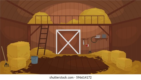 Vector illustration of  Inside Old wooden barn with haystacks. Tools for shed