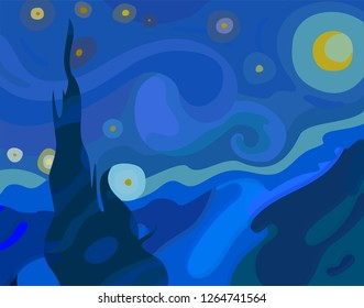 Vector illustration inspired by the painting of Vincent Van Gogh - Moonlit Night.Glowing moon and starry sky abstract background.