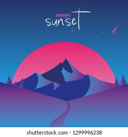 Vector illustration, inspired by retro disco 80s music, 3d background, neon light, mountain relief at sunset day