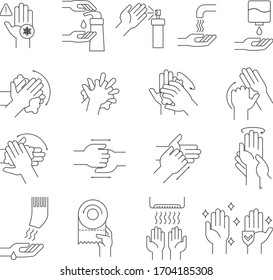 Vector illustration with the instruction and example of how to observe hygiene and wash hands thoroughly. Protection against viruses and bacteria.