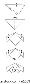 Vector illustration of instructions for how to fold an origami pet dog head