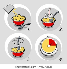 Vector illustration of instructions for instant meal.
