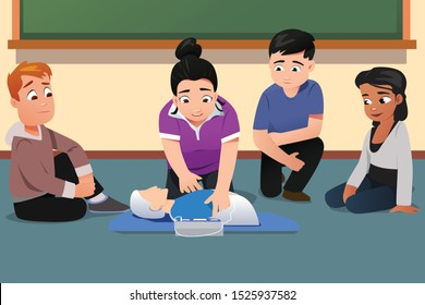 A vector illustration of Instructor Demonstrating CPR to Students in Class