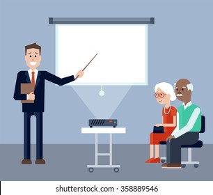 Vector illustration of Insurance agent explaining and pointing on screen on the seminar for seniors. Elder man and woman listening explanations. Place for text on the screen