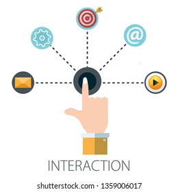 "Vector illustration of interactive business & interaction digital technology with ""interaction"" business concept. communication icon."