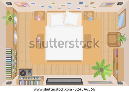 Vector Illustration Interior Bedroom Top View Stock Vector Royalty
