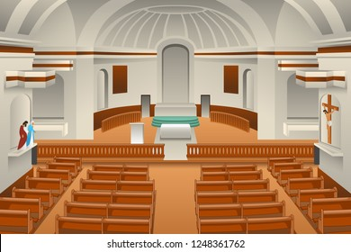 A vector illustration of Interior of a Church