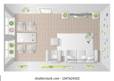 Vector illustration. Interior for living room. (top view) Room, furniture, interior elements. (view from above)