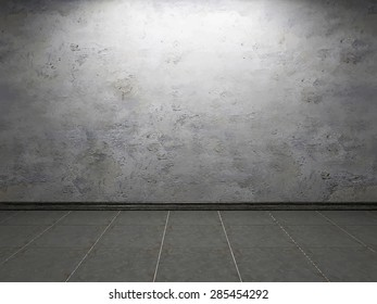 Vector illustration: interior of the old room with the realistic concrete wall