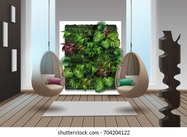 Vector illustration of interior with vertical garden and wicker hanging chairs