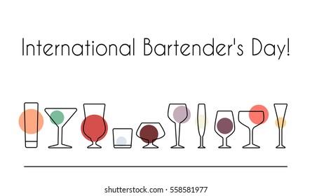 Vector illustration of International Bartender's Day for your design. Stemware outline set.