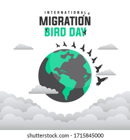Vector illustration of International Bird Day Migration. Suitable for Greeting Cards, Posters and Banners.