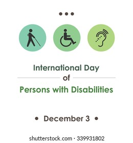 Vector illustration for International Day of Persons with Disabilities with symbolical icons of blind, deaf, and physically disabled people