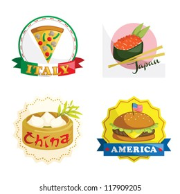 A vector illustration of international gourmet food icons