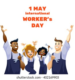 Vector illustration - International Labor Day on May 1st,  International Worker's Day. Funny Happy Cartoon Characters. 1 may