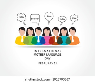 """Vector Illustration of International Mother Language Day observed on February 21 meaning of  non-english word is """"hello"""""""