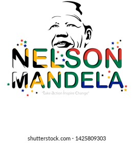 Vector illustration  for International Nelson Mandela Day text with South Africa Flag . - Vector