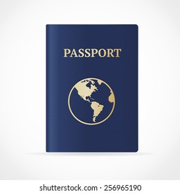 Vector illustration international passport with map isolated on White Background.