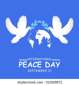 Vector illustration International Peace Day with dove.